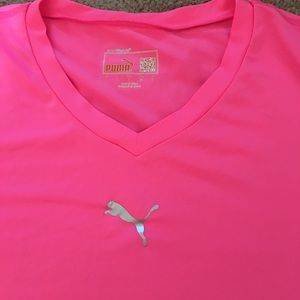 Puma hot pink omg sleeve work out top